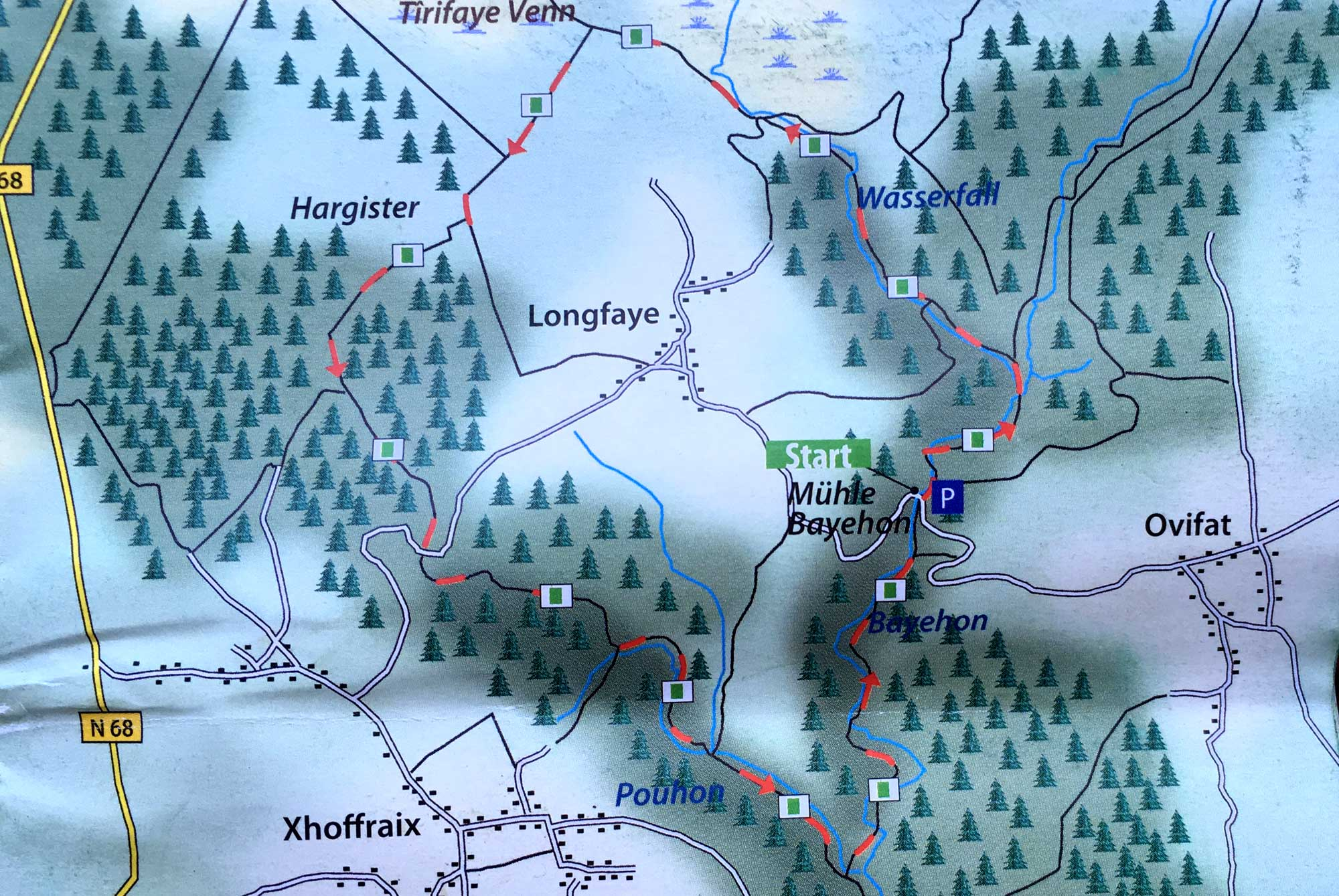 Karte der Wanderung um Longfaye