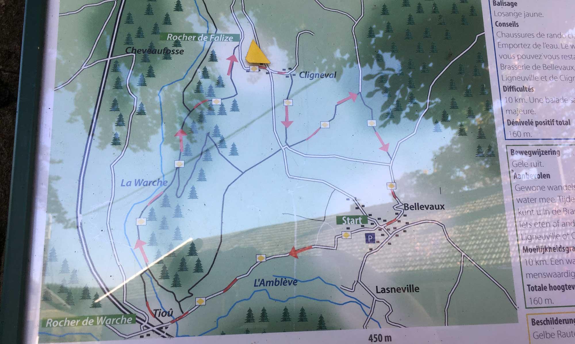 Rindweg Bellevaux Karte