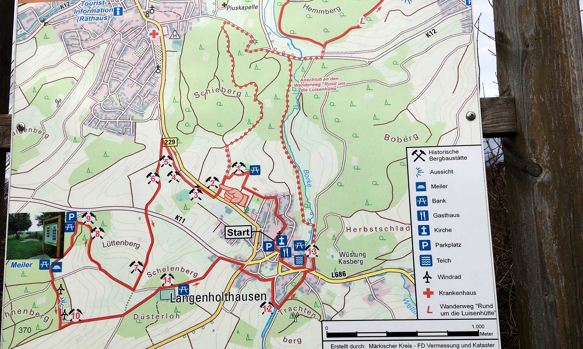 Langenholthausen Bergbau Wanderweg Karte