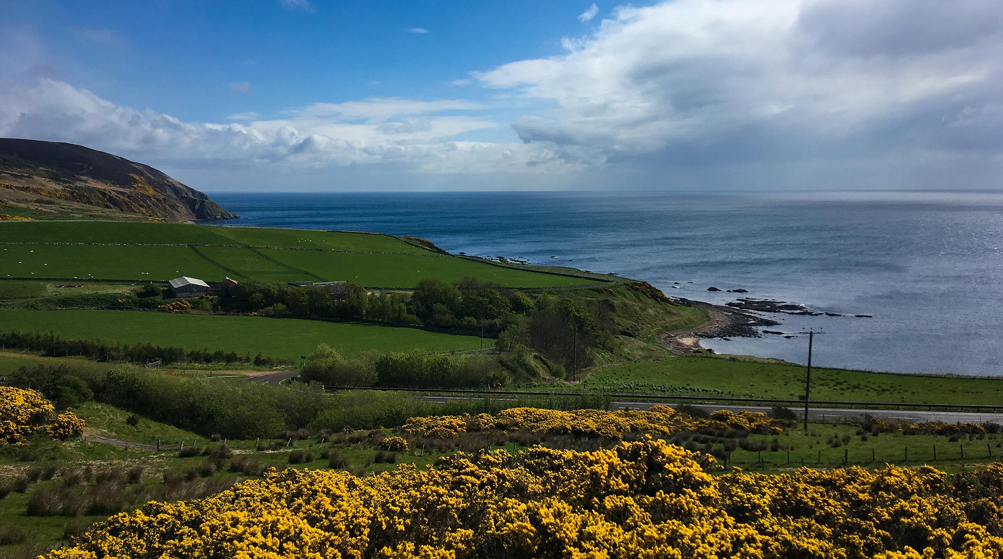 Wandertag Panorama mit Küste und Wiesenlandschaft