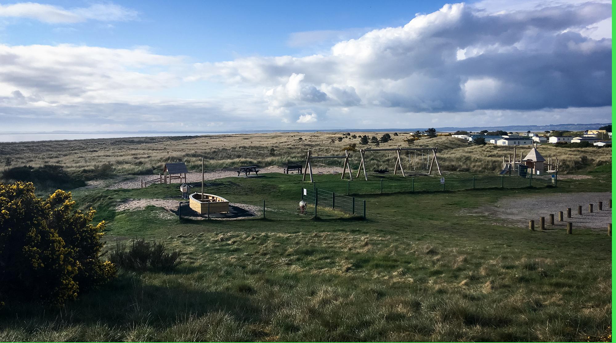Der Campingplatz am Dornoch Beach mit Spielplatz