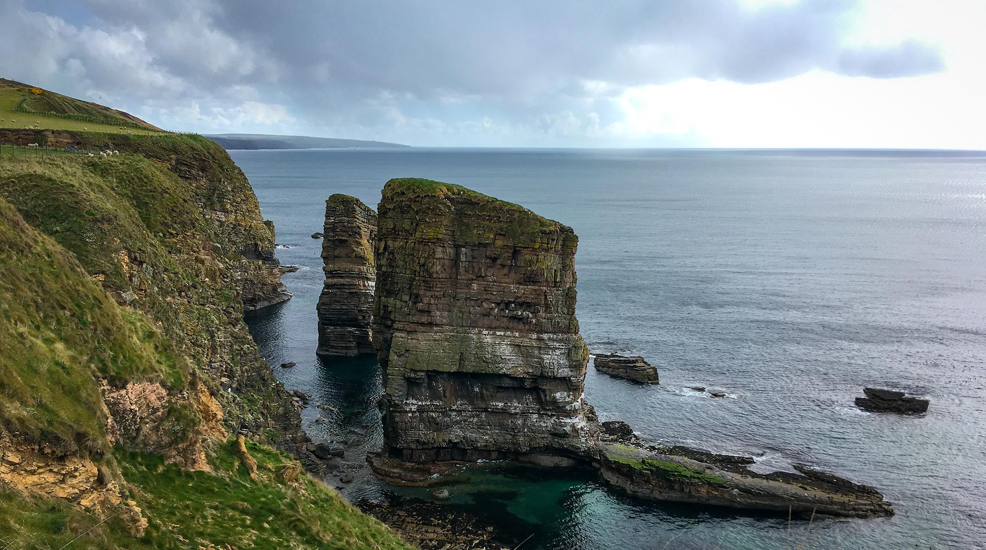 Felsen vor Klippe mit Möwen und Guillemot Kolonien