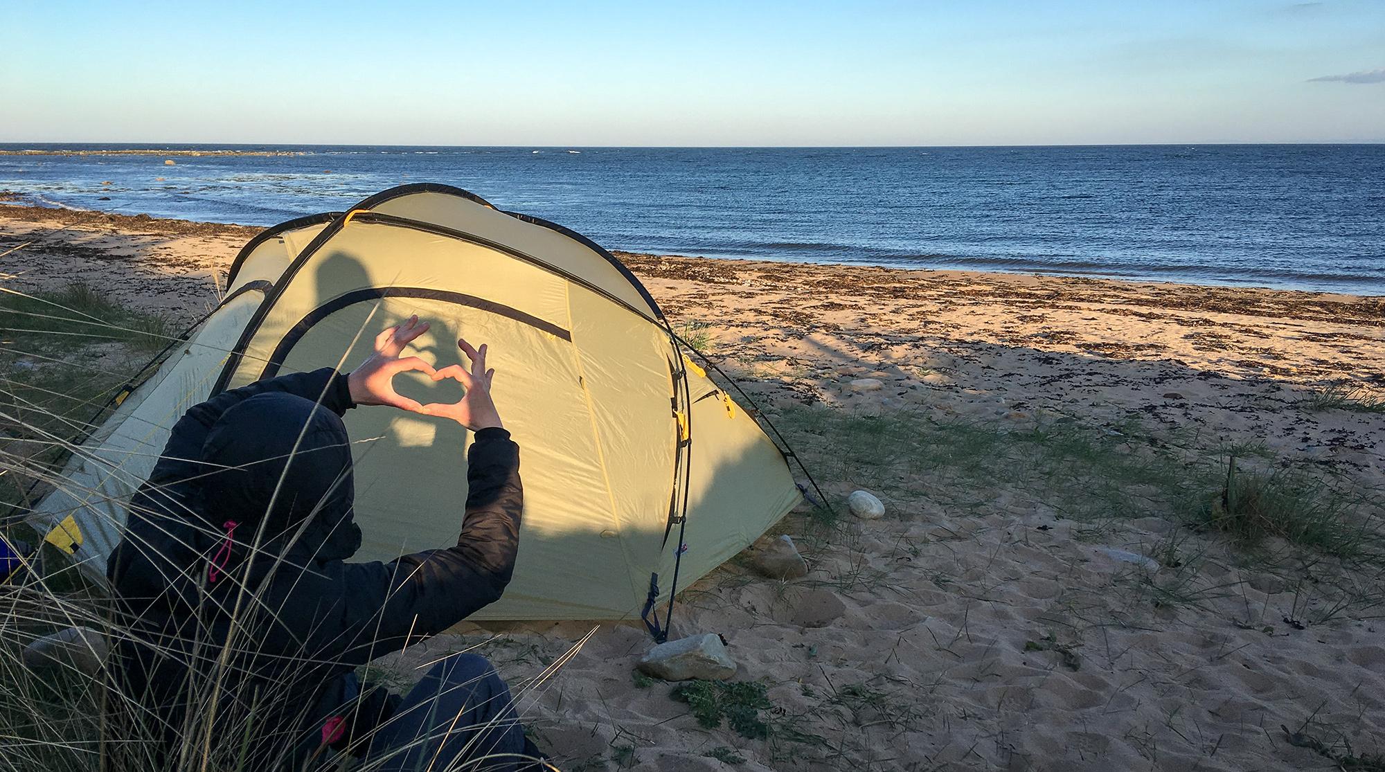 Wechsel Zelt Zero-G Zelt am Strand mit Herz Zeichen Schatten