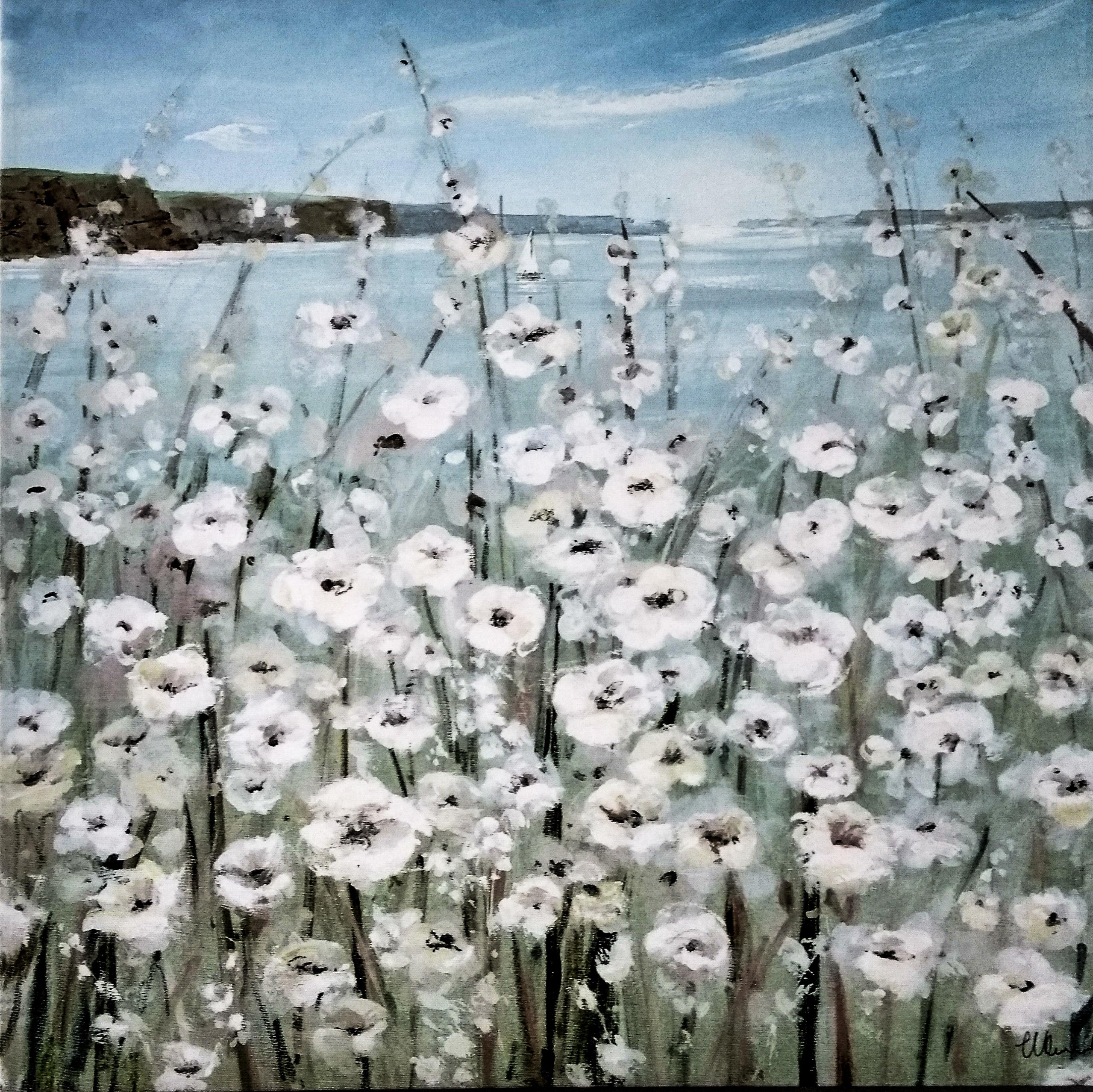 Gemahltes Bild mit weißen Blumen an einem Loch