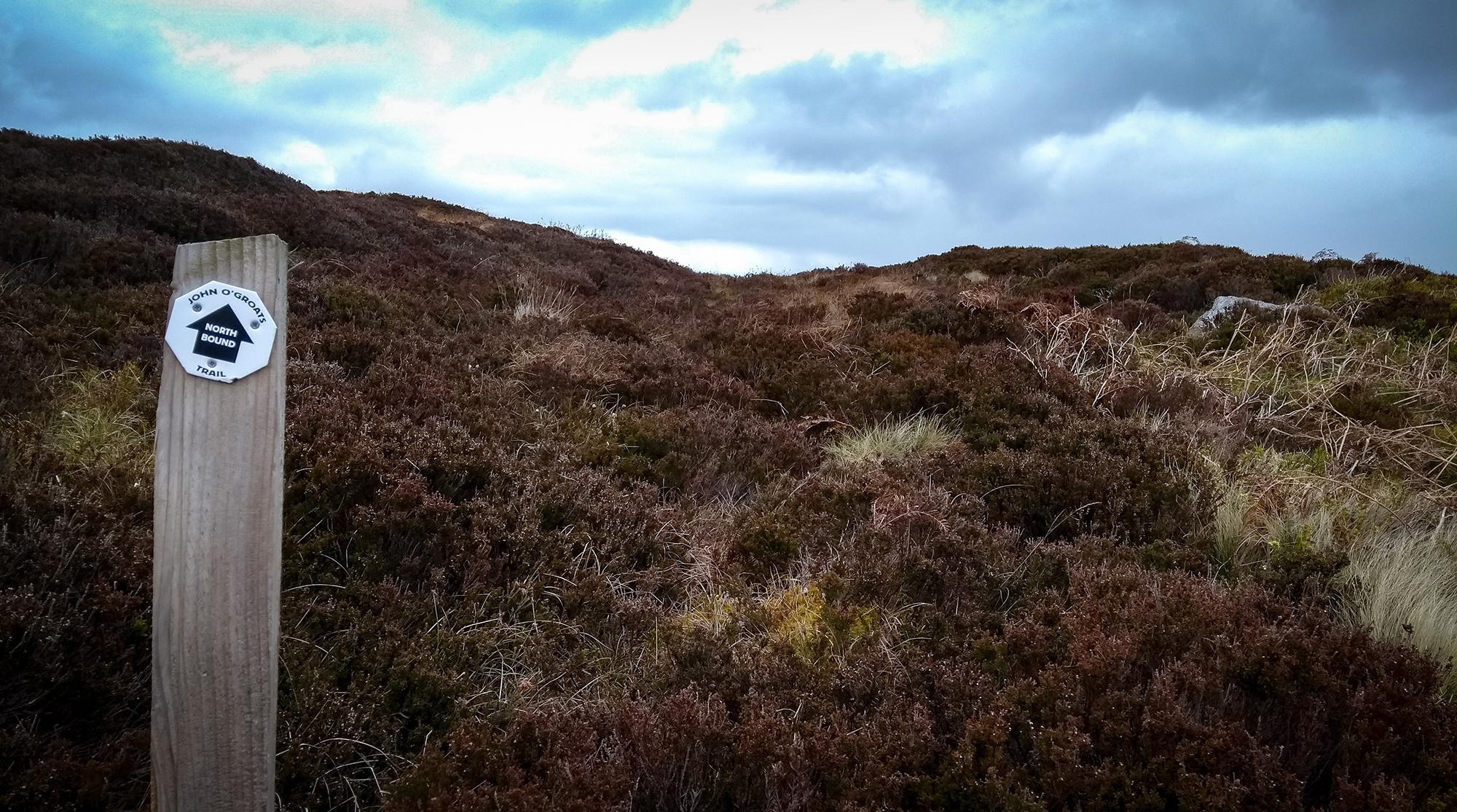 Moorlandschaft mit Heidekraut und John o'Groazts Wegweiser an Pfahl