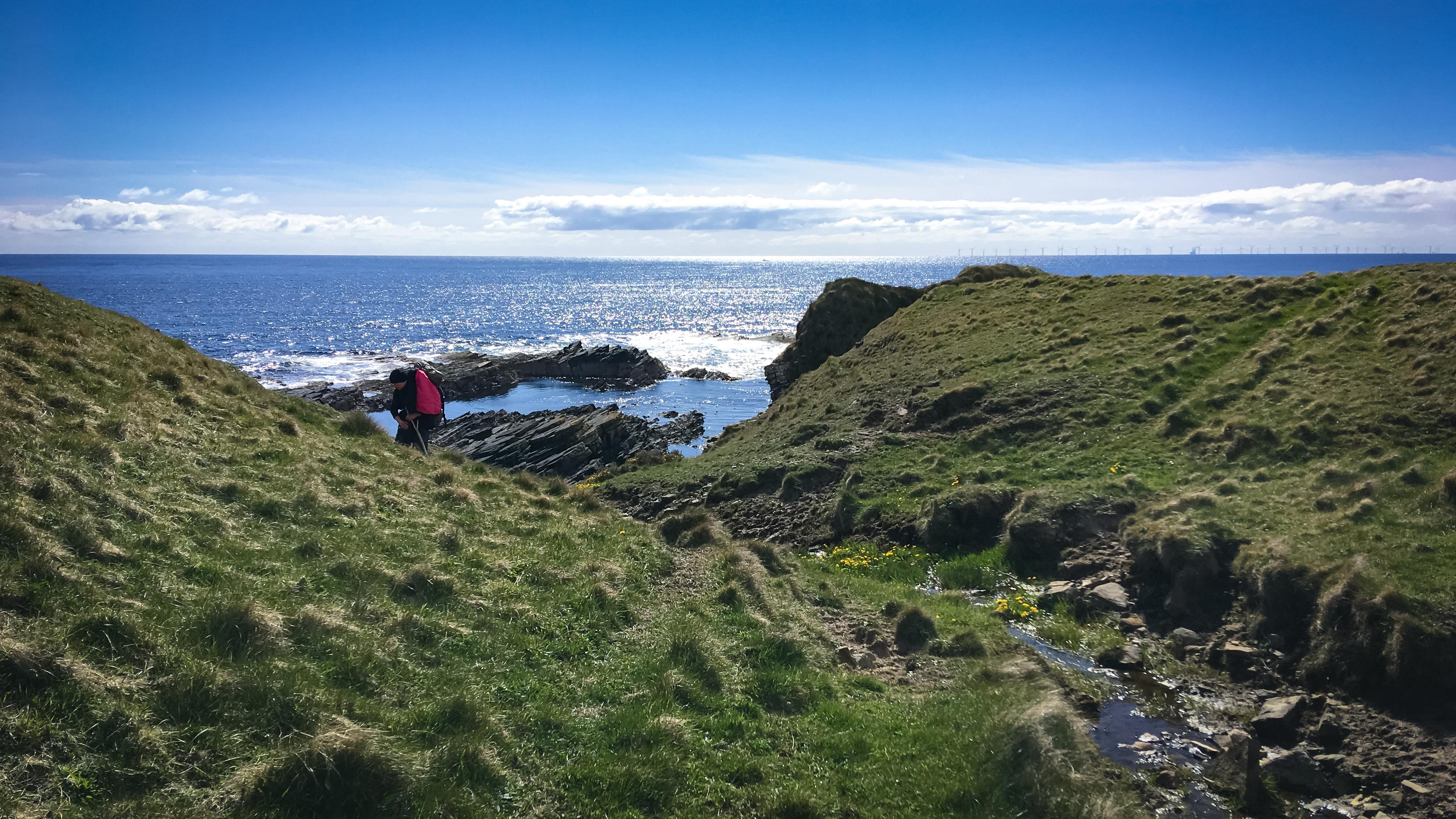 Frau wandert am Meer durch Moorlandschaft mit Bächlein