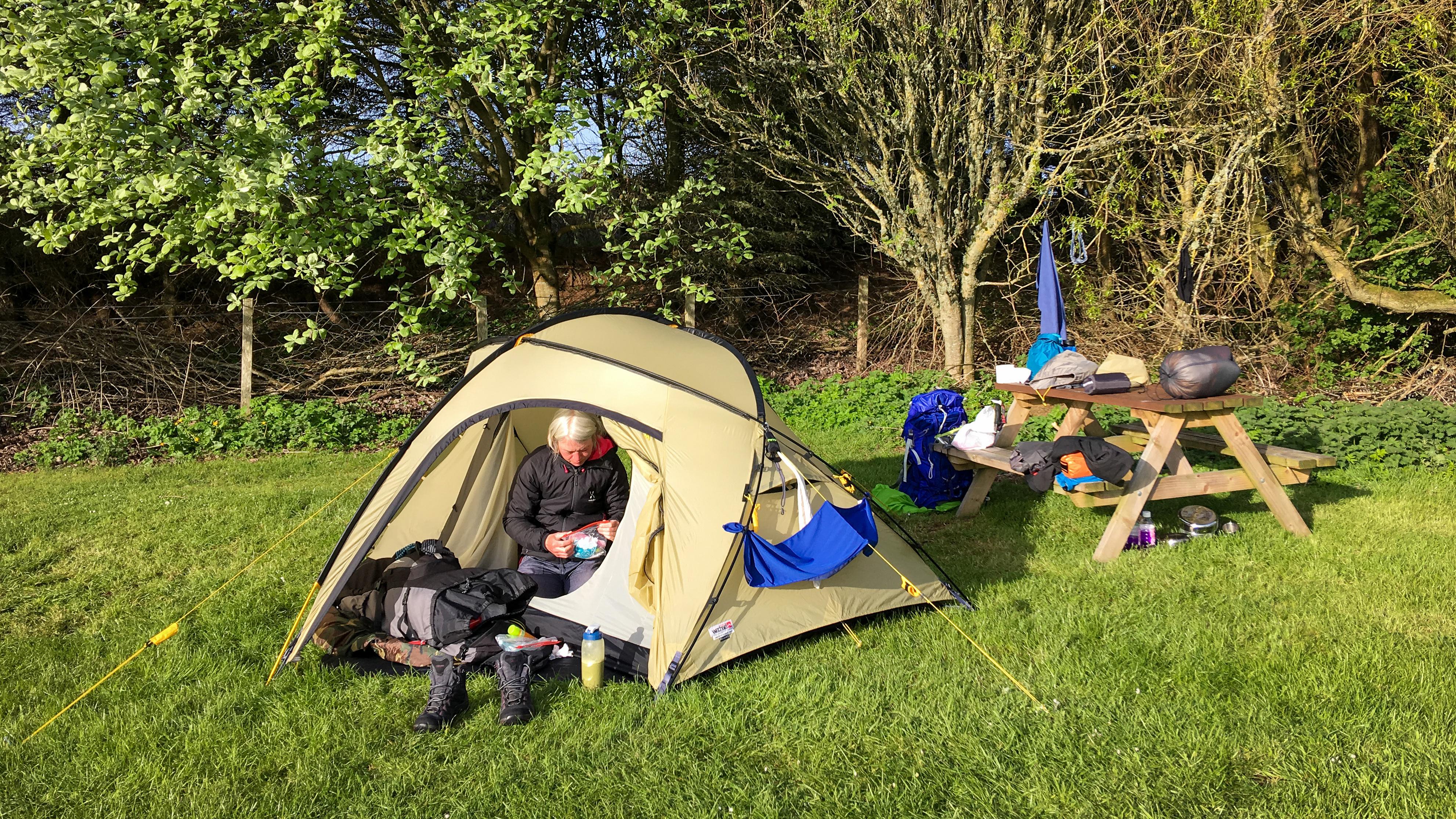 Zelten auf dem Campingplatz in Wick