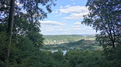 Blick aus dem Wald hinunter auf den See und die Stadt Echternach