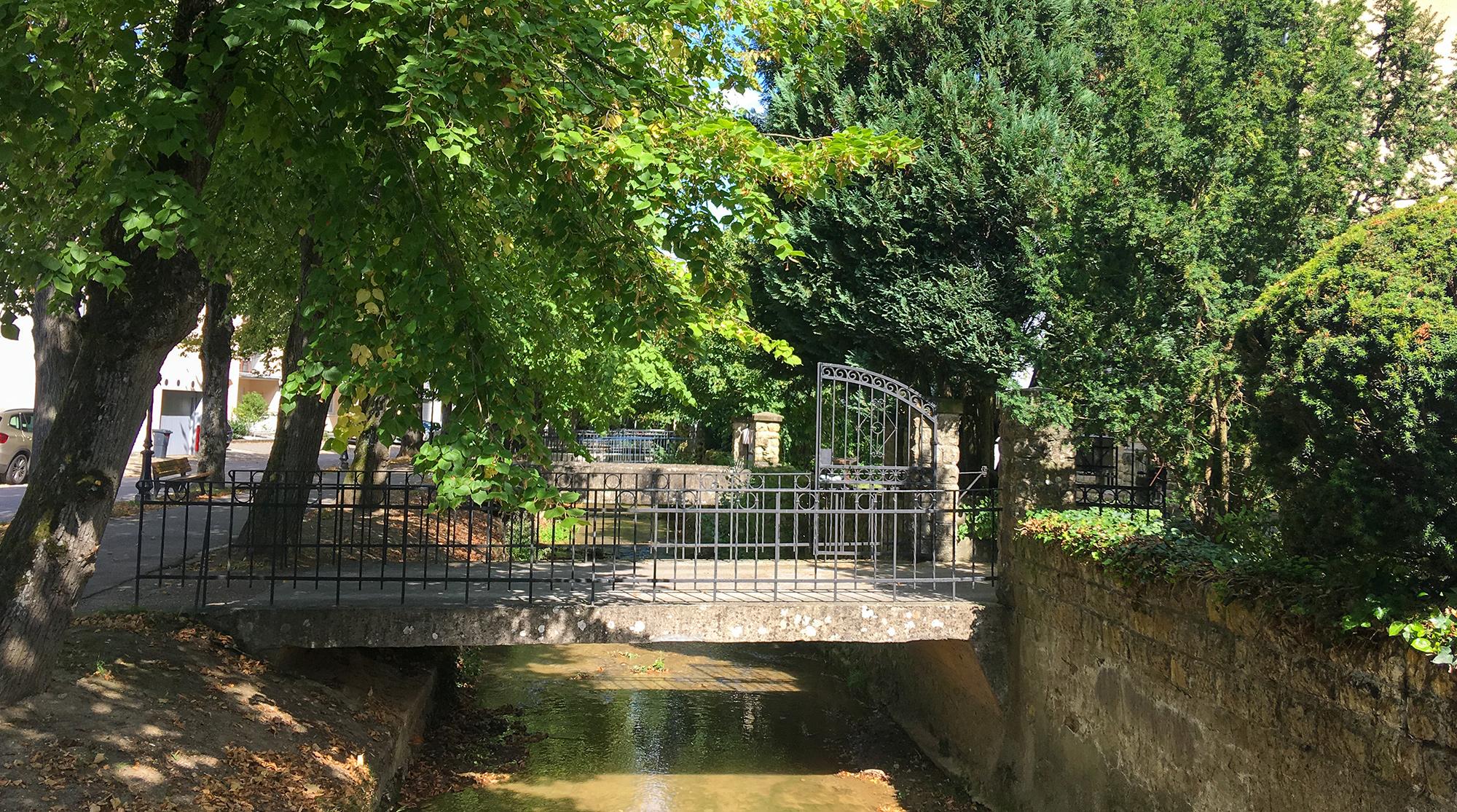 Bachlauf mit Brücken, die von der Strasse zu den Häusern führen in Echternach