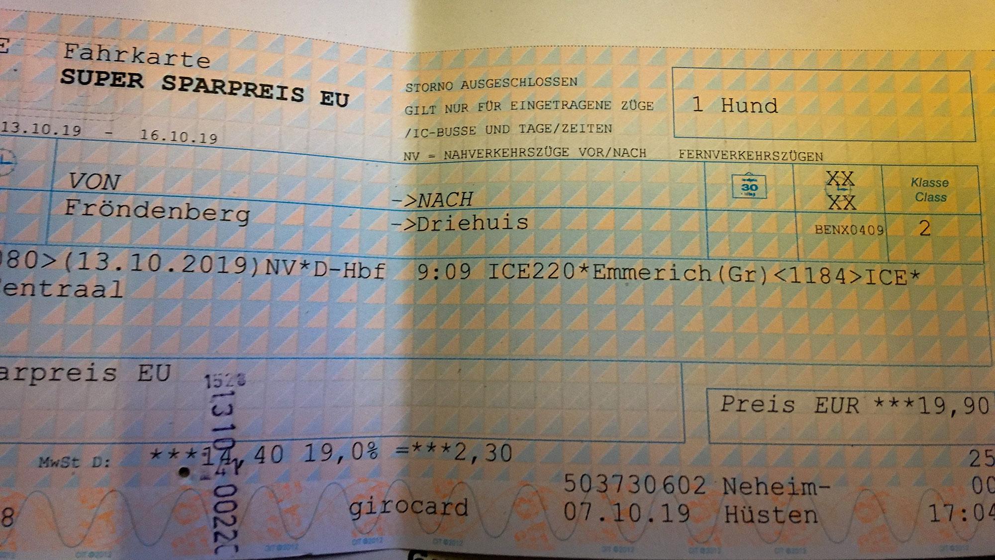 Bahnticket für Hund von Fröndenberg nach Driehuis