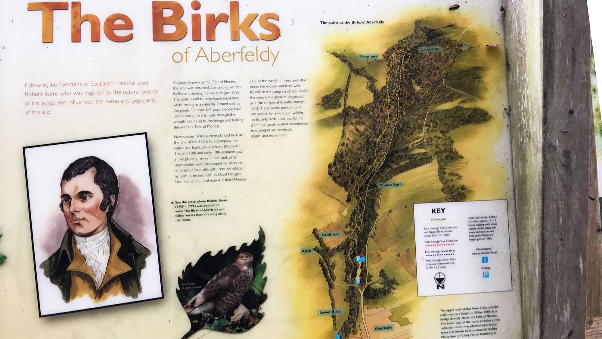 Robert Burns Tafel - Birks of Aberfeldy