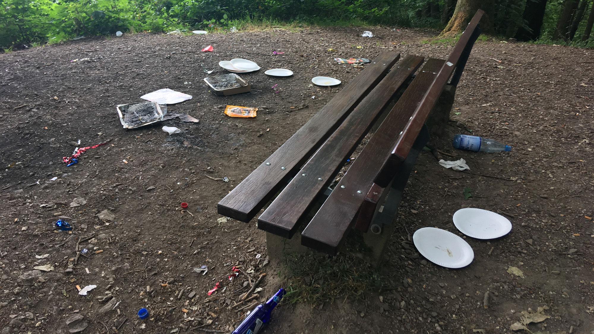 Rastplatz bei Bingen mit Müll